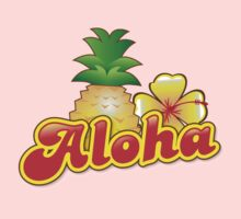 Aloha with cute tropical pineapple and hibiscus flower One Piece - Long Sleeve