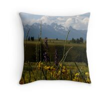 Wildflower and tetons Throw Pillow