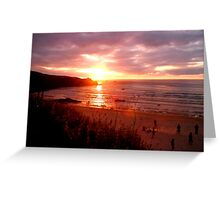 Stunning Sunset over a Cornish Beach Greeting Card