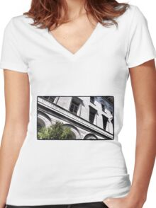 Old Savannah Post Office Women's Fitted V-Neck T-Shirt