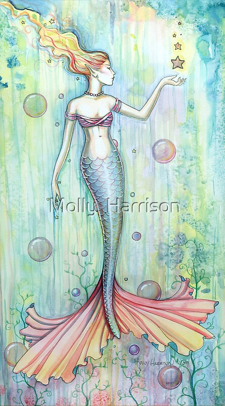 Quot Quot Bubbles Quot Mermaid Art By Molly Harrison Quot By Molly