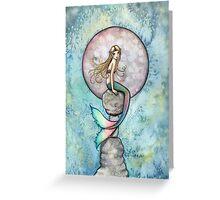 """Sinking Moon"" Mermaid Art by Molly Harrison Greeting Card"