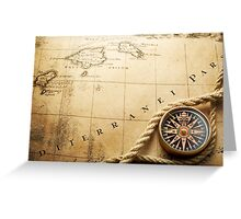 Compass and Map Greeting Card