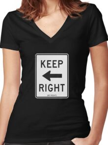Keep Right (My Right) Sign, Tee Women's Fitted V-Neck T-Shirt
