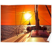 Yacht at Sunset Poster