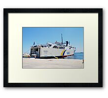 Proteus ferry docked at Alonissos Framed Print