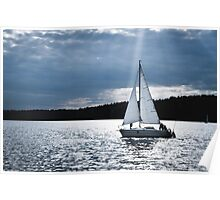 Blue moon light night sailing Poster