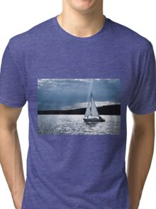 Blue moon light night sailing Tri-blend T-Shirt