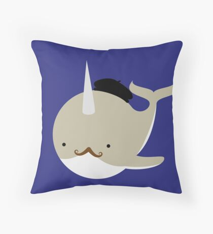 Dapper French Narwhal Throw Pillow