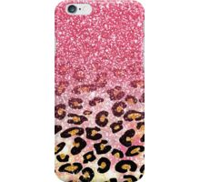 bubble gum pink faux glitter leopard animal print  iPhone Case/Skin