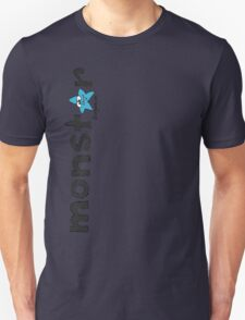 Monster Blue Star Text Graphic  T-Shirt