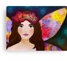 Night Fairy with multicolor wings Canvas Print