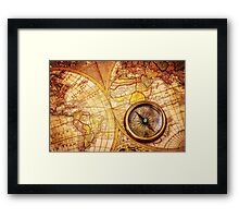 Compass and Map Framed Print