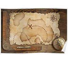 Compass and Map Poster