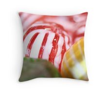 Macro of Striped Hard Candy Throw Pillow