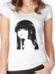Black Haired Girl Women's Fitted Scoop T-Shirt
