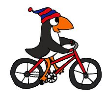 Funny Penguin Riding a Red Bicycle by naturesfancy