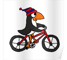 Funny Penguin Riding a Red Bicycle Poster