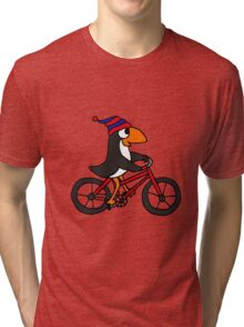 Funny Penguin Riding a Red Bicycle Tri-blend T-Shirt