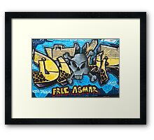 Abstract Graffiti with a skull on the textured wall Framed Print