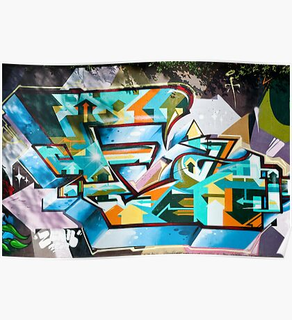 Abstract Colorful Graffiti on the textured wall Poster