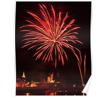 Rochester castle by firework Poster