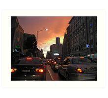 Melbourne CBD dusk Art Print