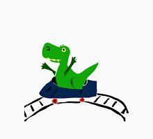 Funky T-Rex Dinosaur Riding on Roller Coaster Unisex T-Shirt