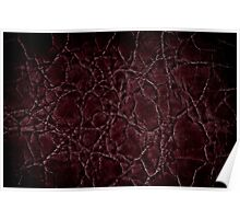 Dark frayed leather texture abstract Poster