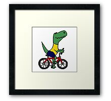 Cute T-Rex Dinosaur Riding Red Bicycle Framed Print