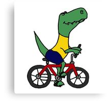 Cute T-Rex Dinosaur Riding Red Bicycle Canvas Print