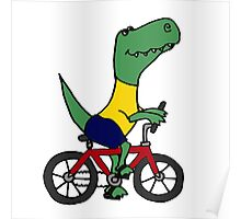 Cute T-Rex Dinosaur Riding Red Bicycle Poster