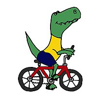 Cute T-Rex Dinosaur Riding Red Bicycle Photographic Print