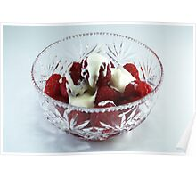 Bowl of Raspberries and cream Poster