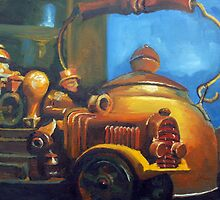 Antique Copper Kettle & Truck Model by Phyllis Dixon