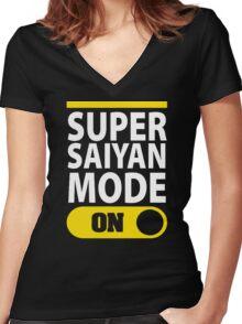 SUPER SAIYAN MODE ON Women's Fitted V-Neck T-Shirt
