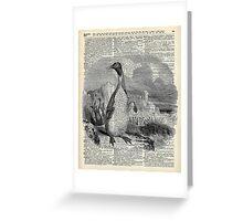 Penguin over old book page vintage illustration Greeting Card