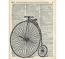 Vintage Penny Farthing bicycle,monocycle dictionary art Photographic Print