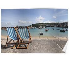 Deck chairs overlooking St. Ives harbour Poster