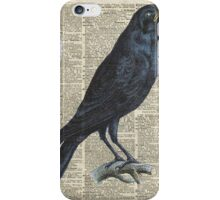 Crow on dictionary book page iPhone Case/Skin