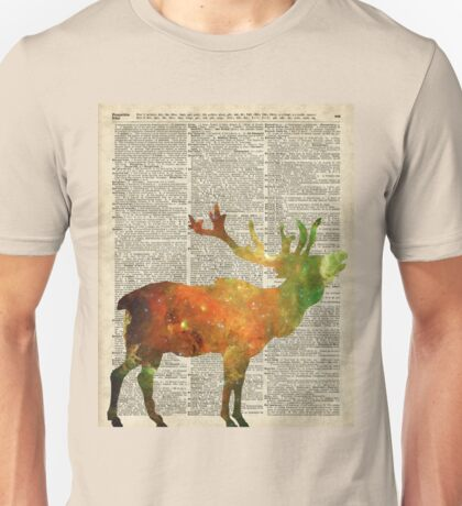 Space Reindeer Vintage Stencil Over Old Book Page Unisex T-Shirt