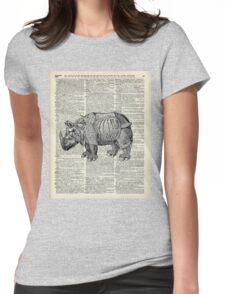 Fantasy steampunk Rhinoceros Womens Fitted T-Shirt