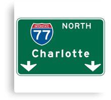 Charlotte, NC Road Sign Canvas Print