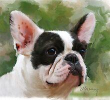 Pet Portrait French Bulldog painting by Michael Greenaway