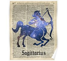 Sagittarius Archer Space Stencil Dictionary Art Poster