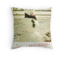 retro snowman holiday card Throw Pillow