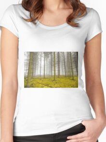 Mystical forest with fog and yellow foliage Women's Fitted Scoop T-Shirt