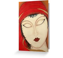 Fortuna Beautiful Mysterious Gypsy Woman Painting Greeting Card