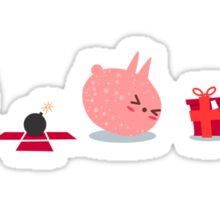 Pink Creature Gets A Bomb As Present Sticker