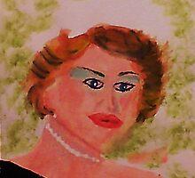 Self Portrait,, watercolor by Anna  Lewis